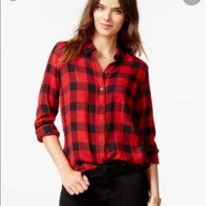Lucky Brand Red And Black Plaid Shirt